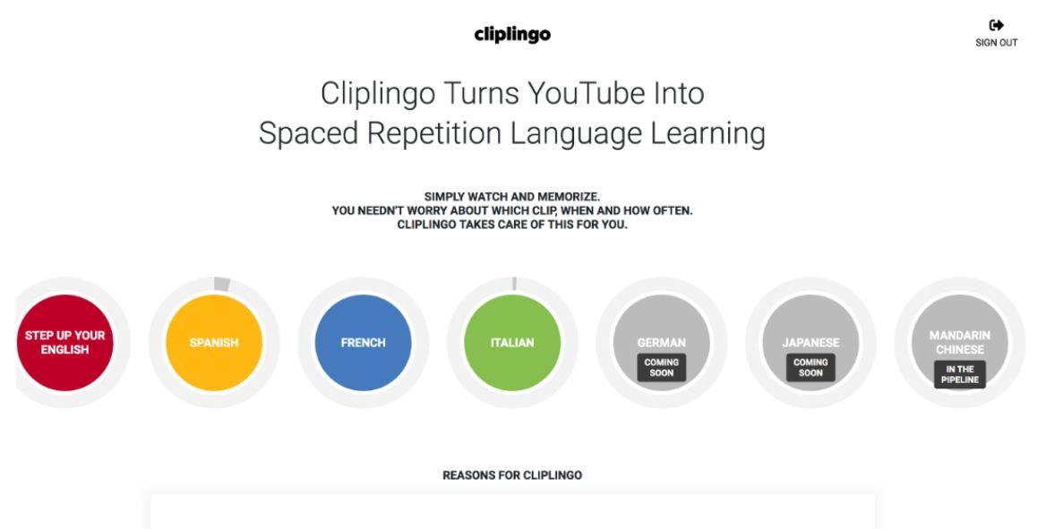 Clipingo, para aprender idiomas usando vídeos de Youtube