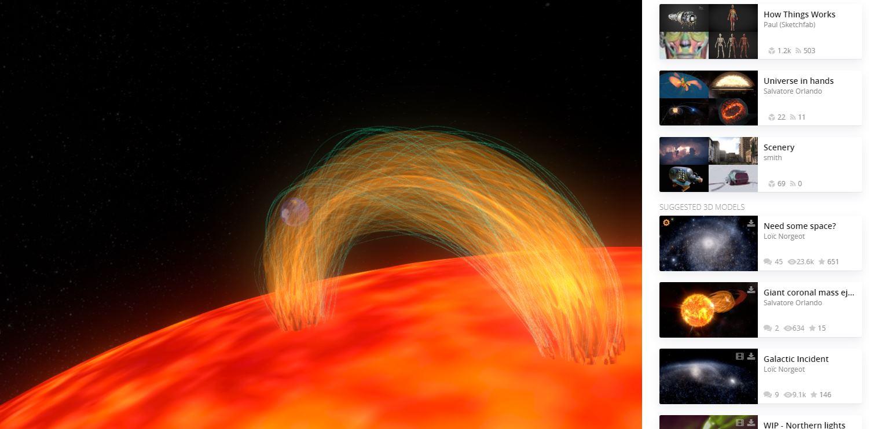 erupción solar 3D