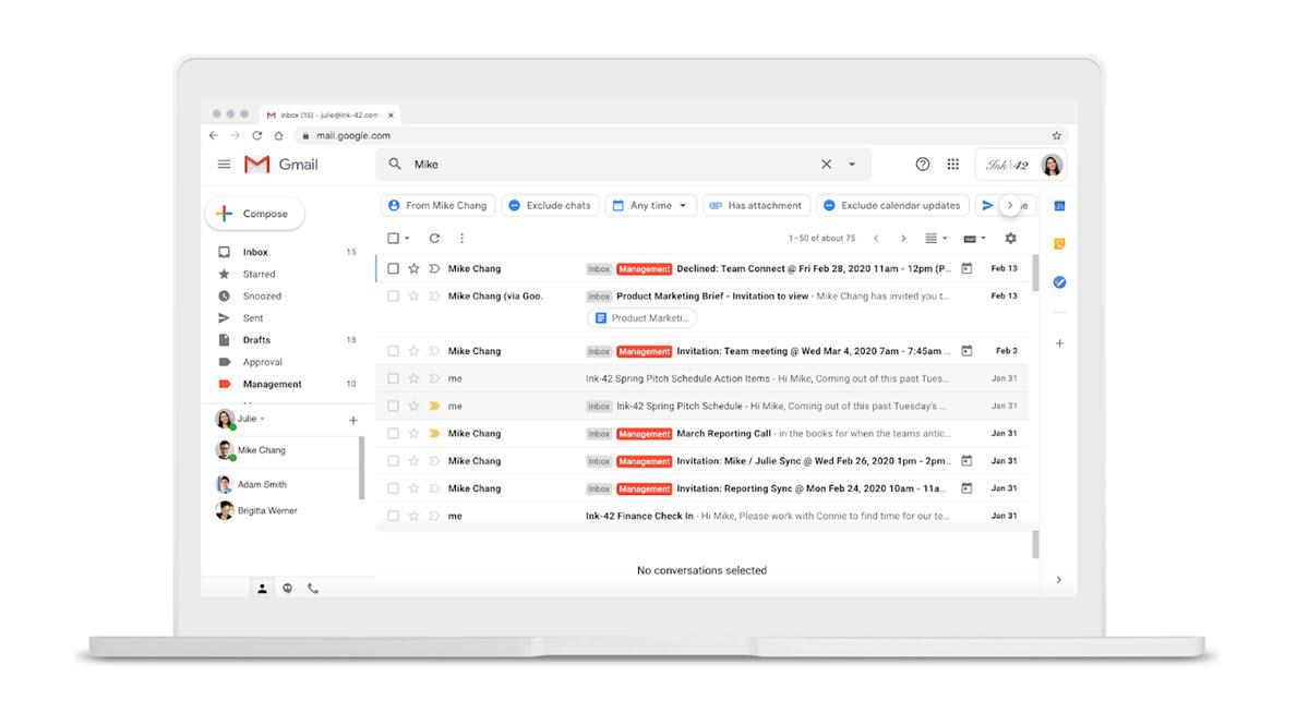 Gmail añade nuevos filtros para buscar correos en un solo paso