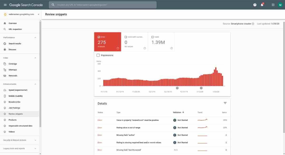 Search Console de Google trae nuevas herramientas para los fragmentos de reseñas en sitios web