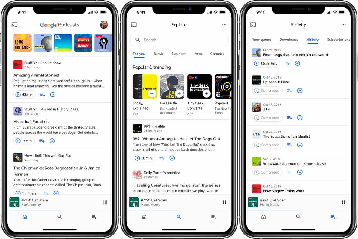 Google Podcasts se rediseña en Android y comienza a estar disponible en iOS