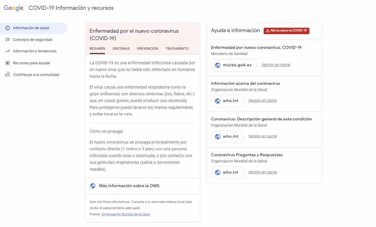 Google España reúne información oficial y recursos sobre el Covid-19 en una nueva web