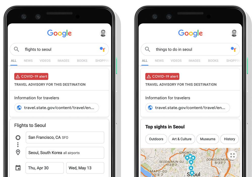 Google ahora muestra avisos de viajes y cambios en las políticas de las aerolíneas