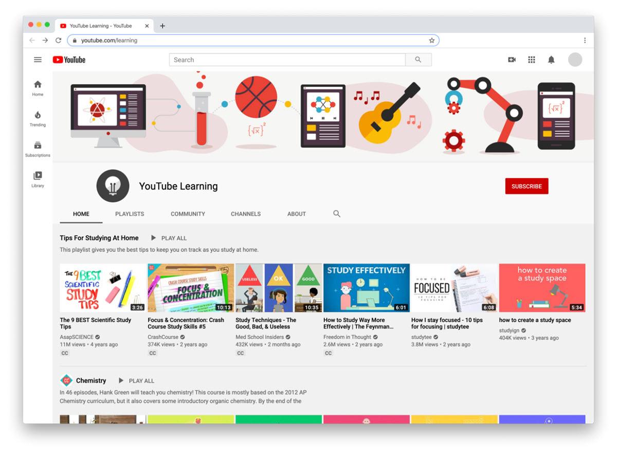 YouTube lanza recursos para aprender desde casa