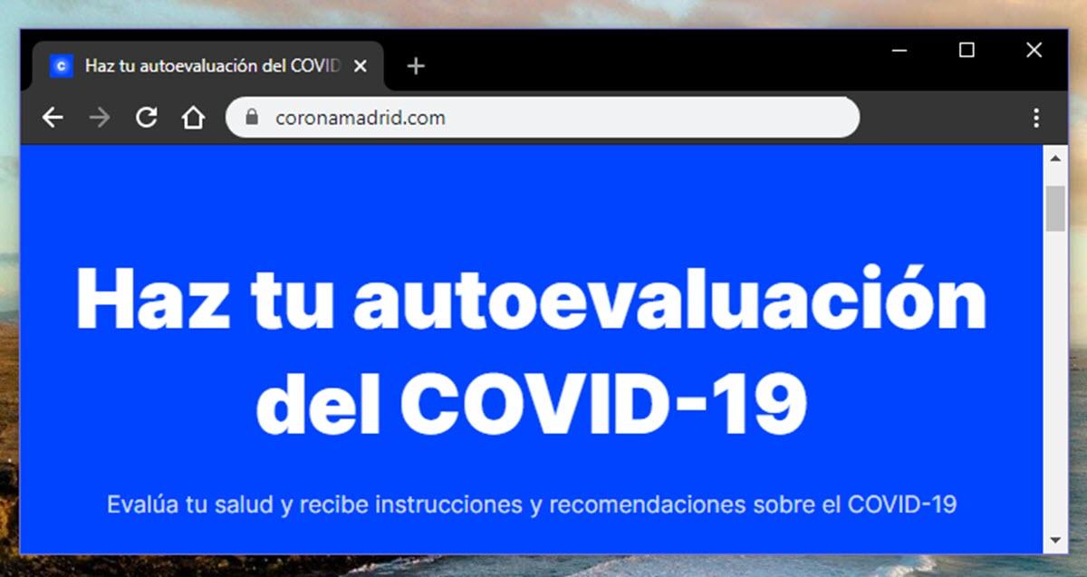 La Comunidad de Madrid lanza web para realizar una autoevaluación del coronavirus