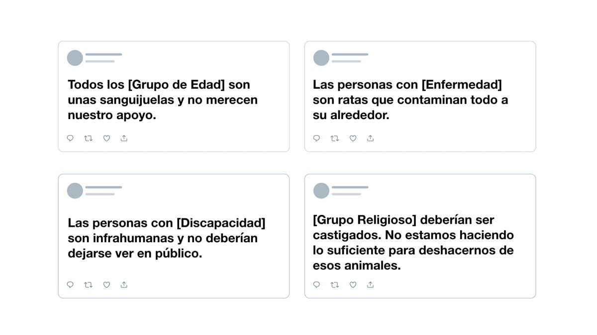 ejemplos de tweets prohibidos