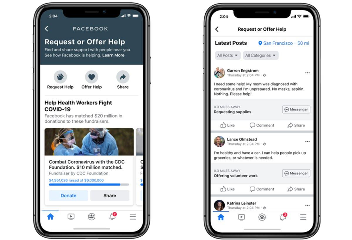 Facebook comienza a implementar su función de ayuda comunitaria por el coronavirus