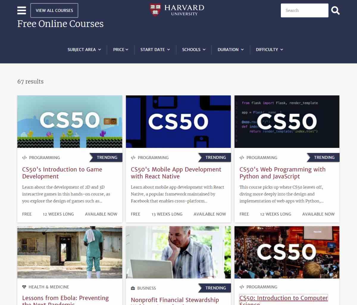 La Universidad de Harvard ofrece más de 300 cursos gratuitos para este año