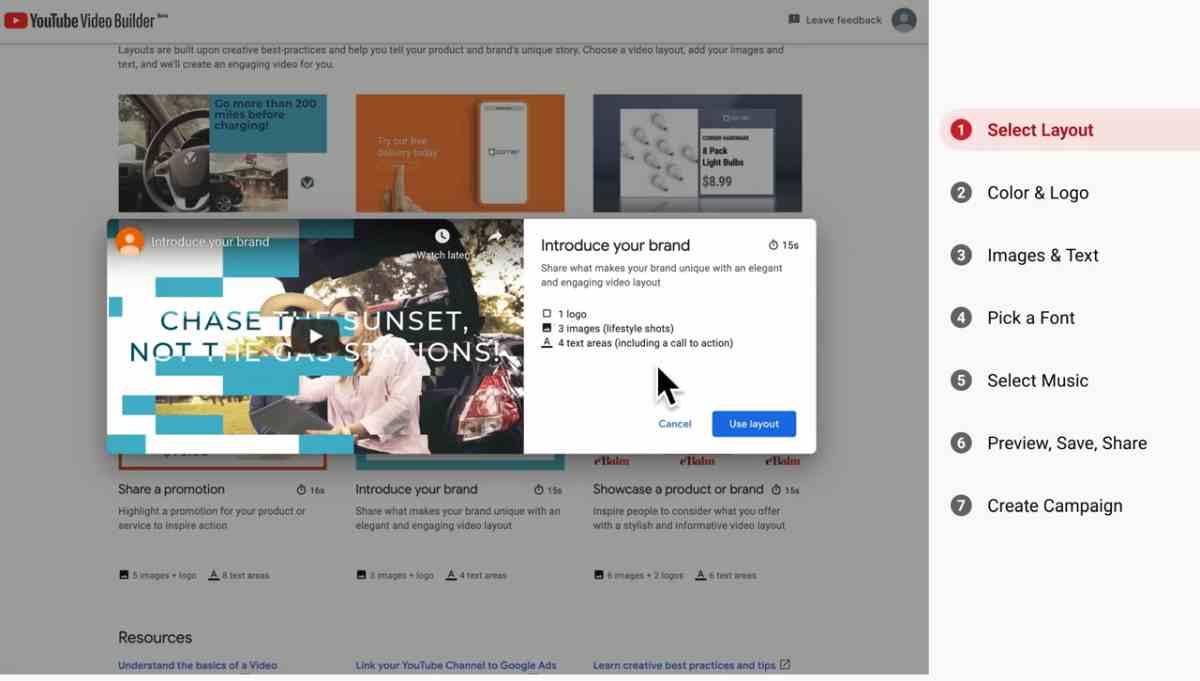 YouTube Video Builder, para que las empresas creen sus vídeos en minutos, entra en fase beta