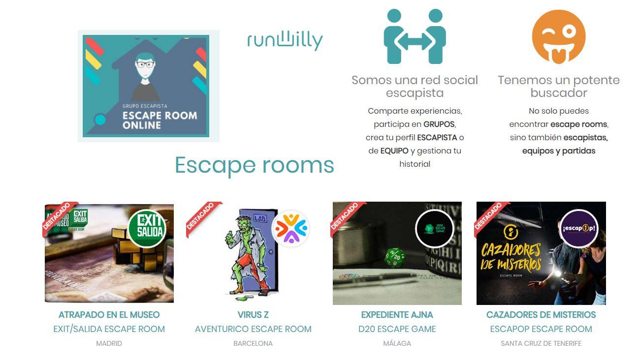 RUNWILLY, una red social de Escape Rooms, con más de 50 online gratis