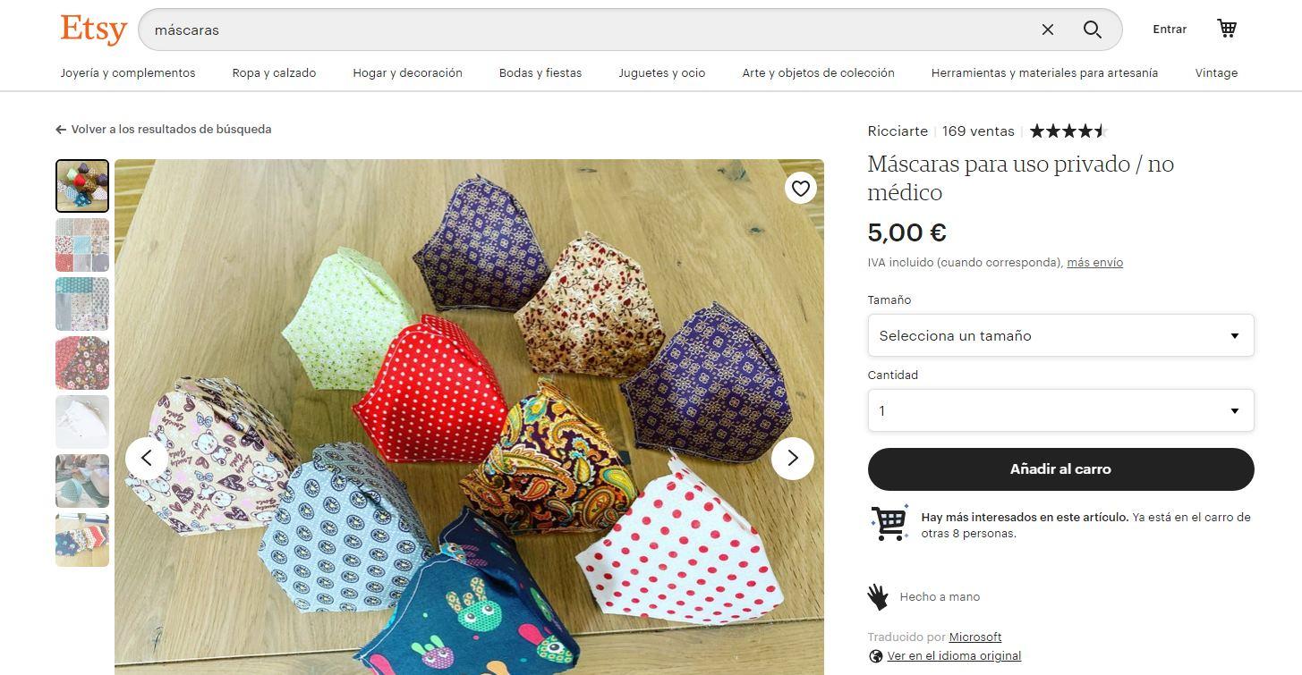 Etsy anima a crear y vender máscaras por Internet