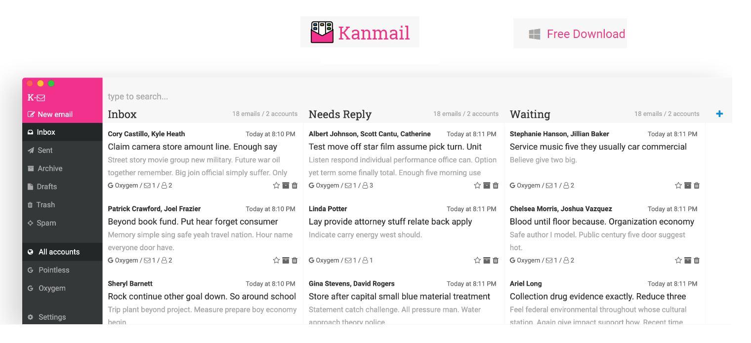 Un cliente de correo electrónico que parece un tablero Kanban