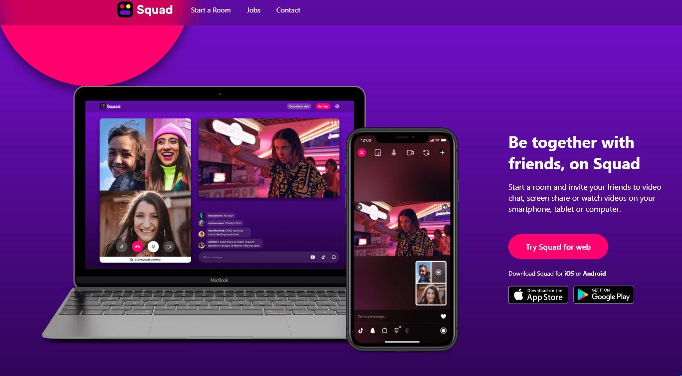 Squad ya tiene versión web, para compartir aplicaciones y pantalla con amigos