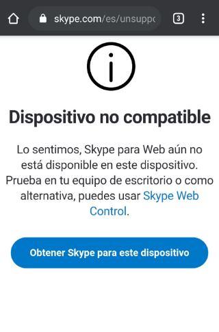 Skype no compatible