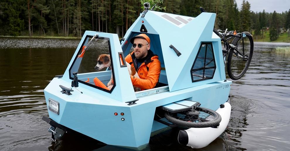 Barco eléctrico, casa y triciclo, así es el Z-Triton, un vehículo anfibio multipropósito
