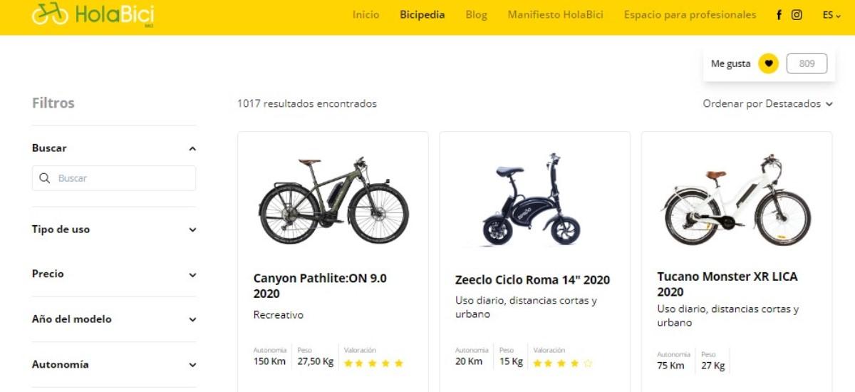 bicipedia, catalogo de bicicletas electricas