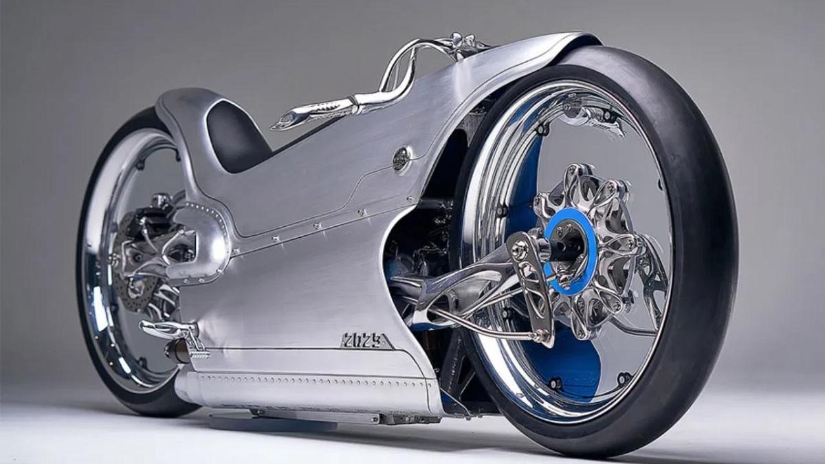 Una moto eléctrica futurista fabricada con piezas impresas en 3D