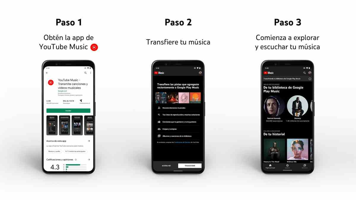 YouTube Music ya permite transferir los contenidos disponibles en Google Play Música