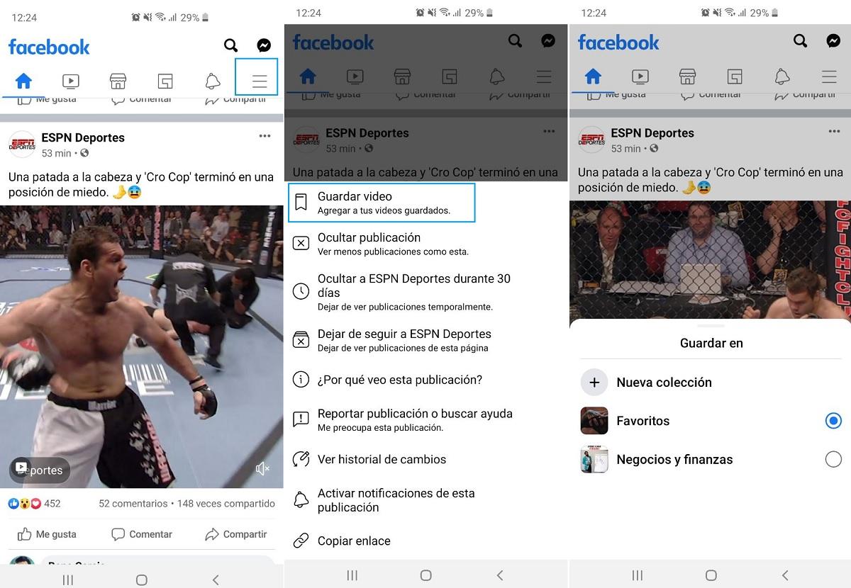 Guardar publicación Facebook Paso A