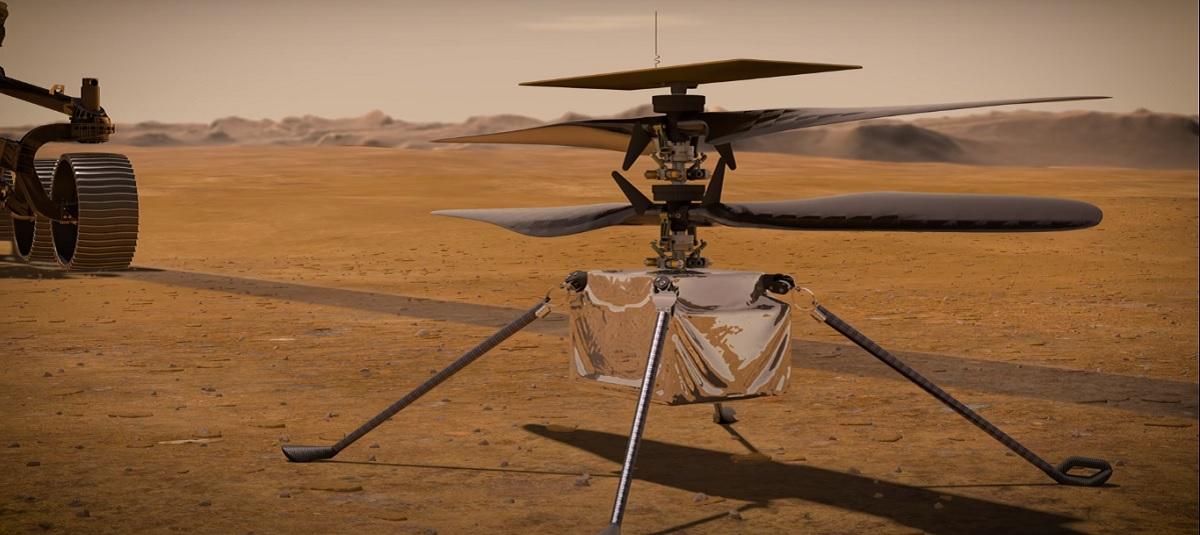 Ingenuity, el helicóptero que acompañará una misión espacial a Marte, mostrado en vídeo