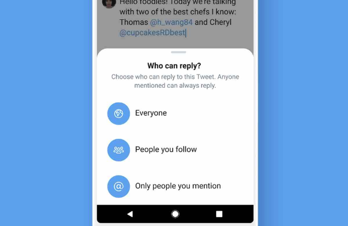 Twitter comienza a probar su nueva función de limitación de respuestas
