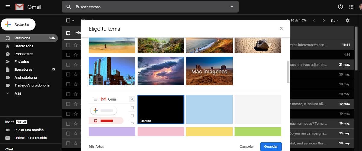 Modo oscuro Gmail