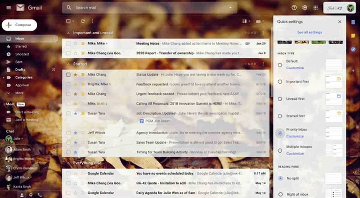 Gmail contará con un menú de configuración rápida para facilitar las personalizaciones