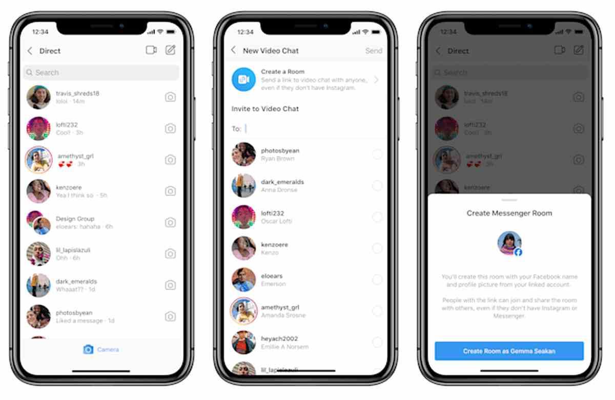 Las Salas de Messenger (Messenger Rooms) están llegando a Instagram