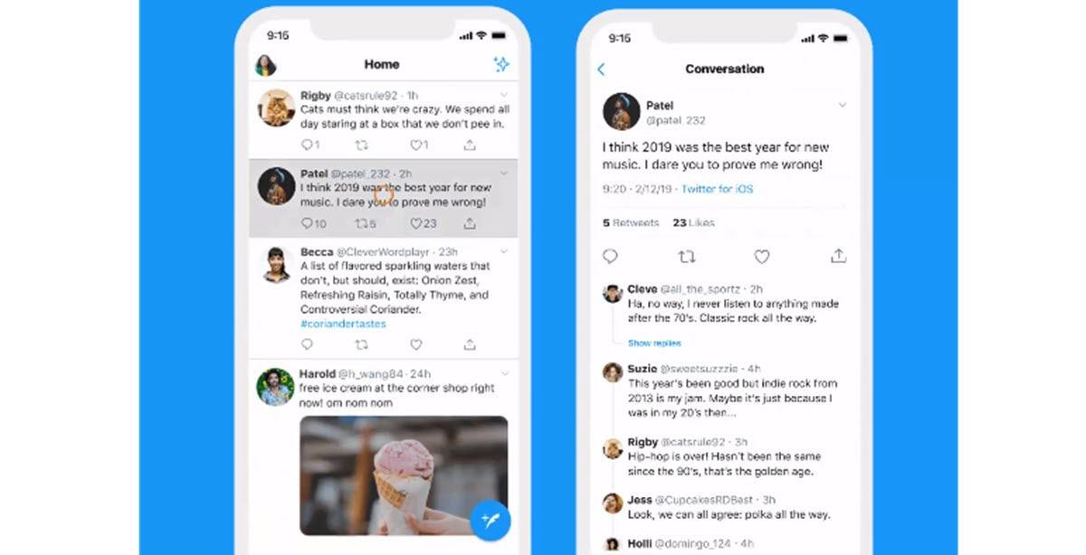 Twitter tiene una nueva dinámica para mostrar las conversaciones