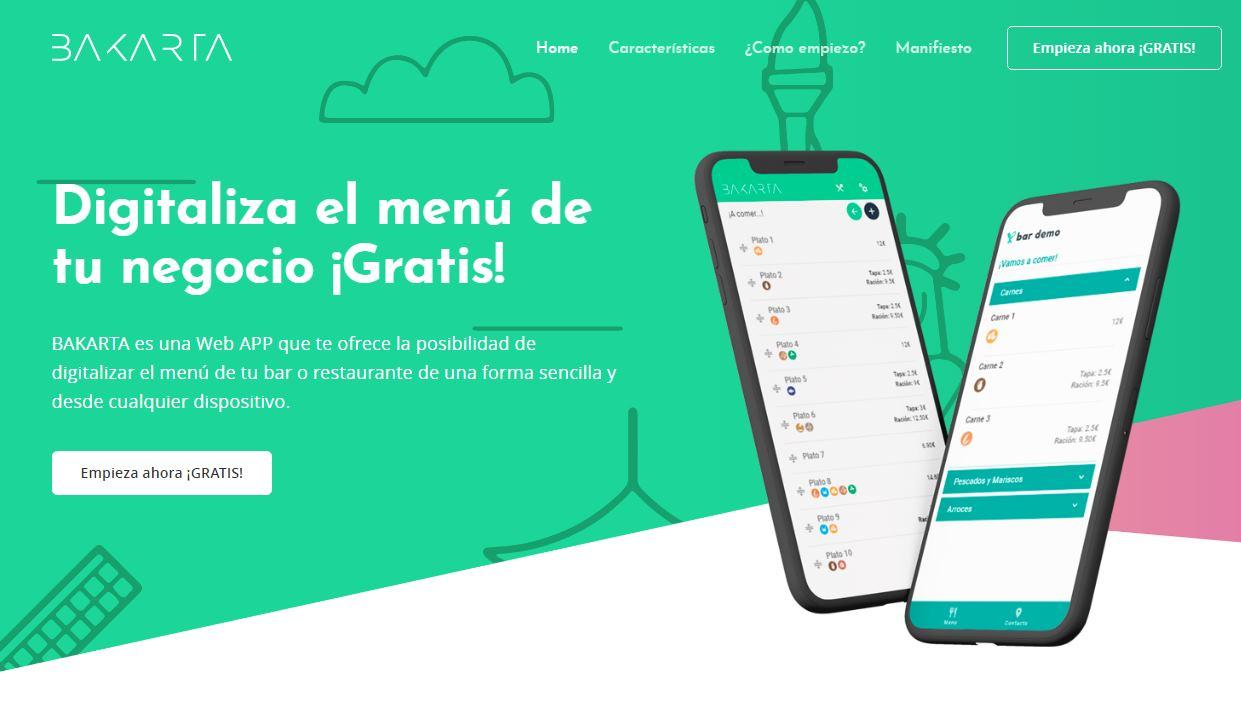 Bakarta, una herramienta para hacer digitales la carta de los restaurantes, de forma gratuita