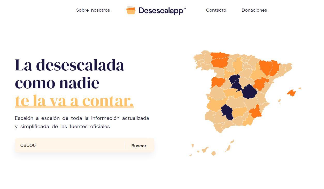 Una web que explica la desescalada en función de nuestro código postal