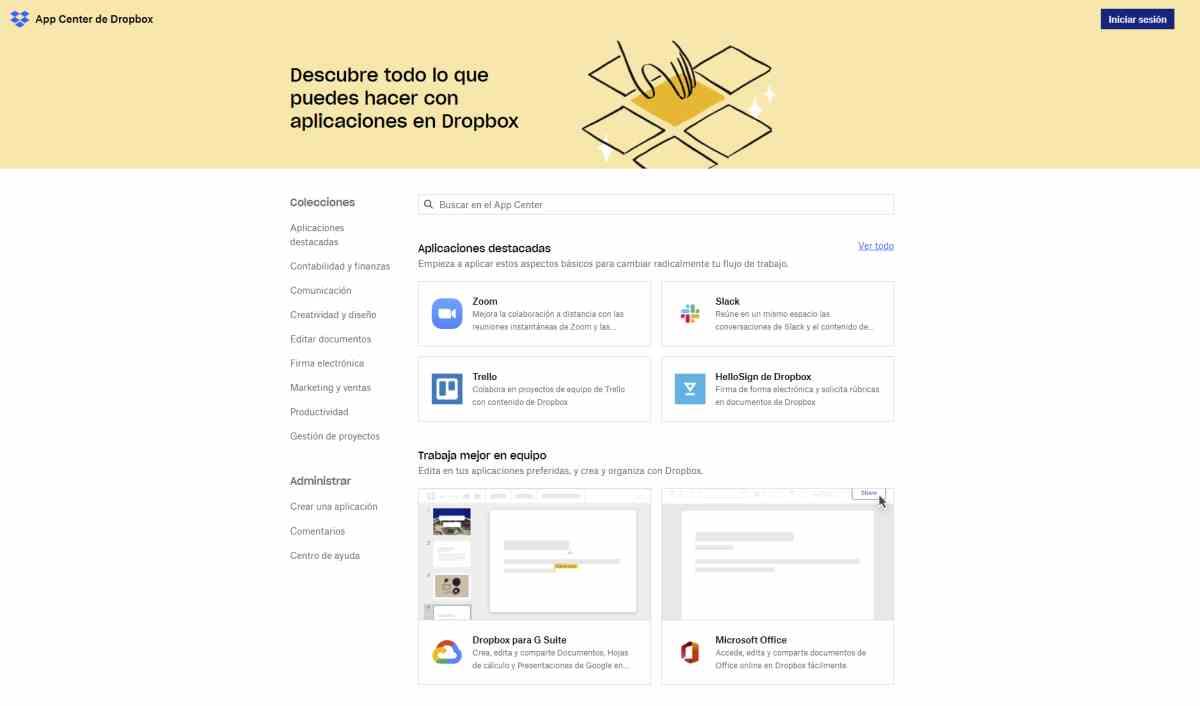 Dropbox lanza su directorio de aplicaciones, App Center, en fase beta