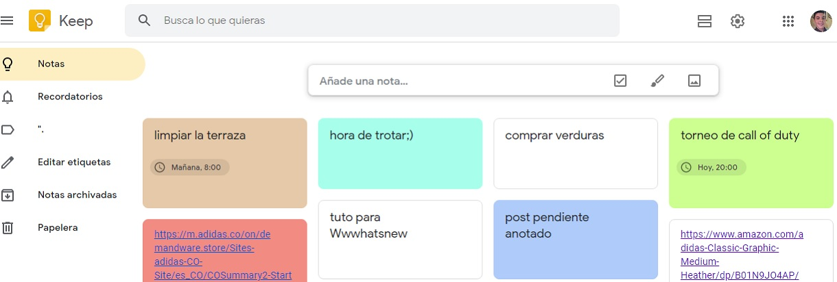 Cambiar colores de tarjetas en Google Keep