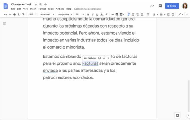 Autocorrección en español en Docs