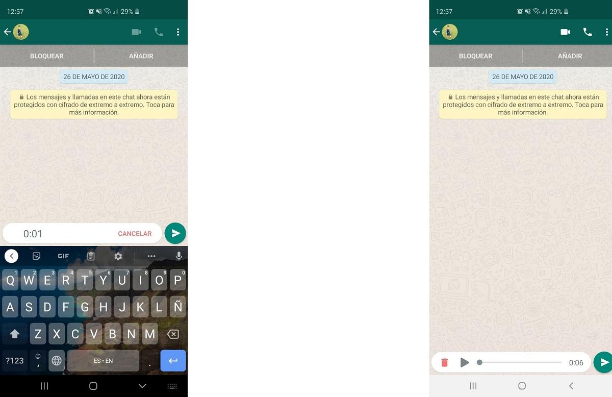 Escuchar notas de voz en WhatsApp antes de enviarla