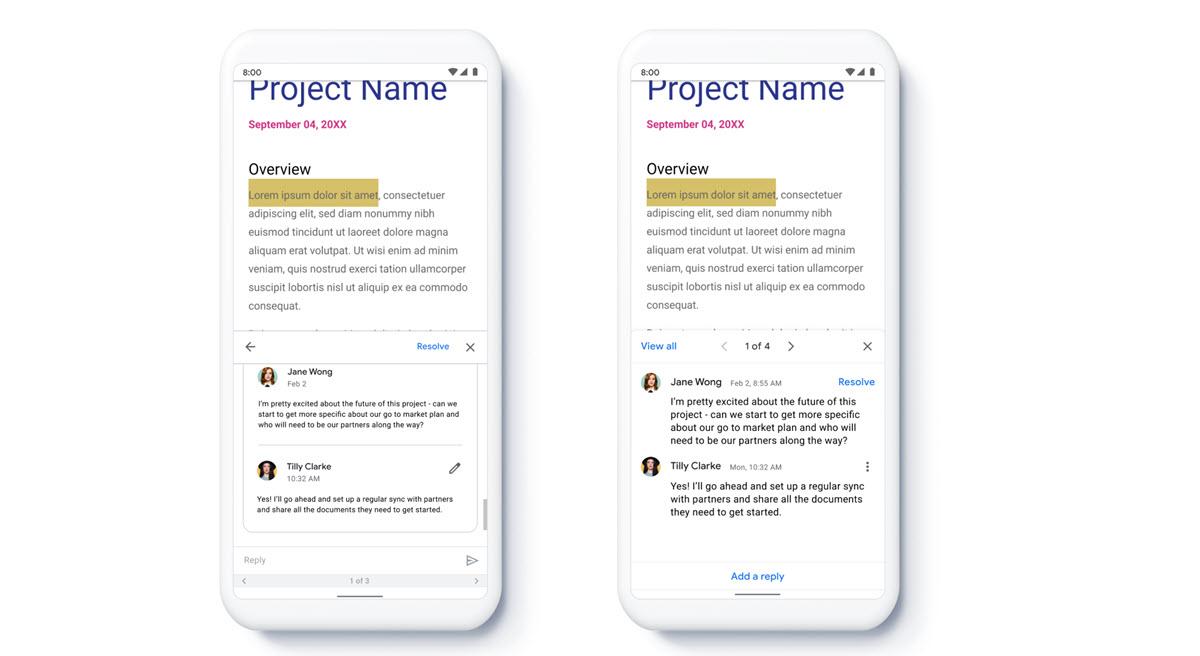 Google Docs mejora su sistema para trabajar en equipo desde el móvil
