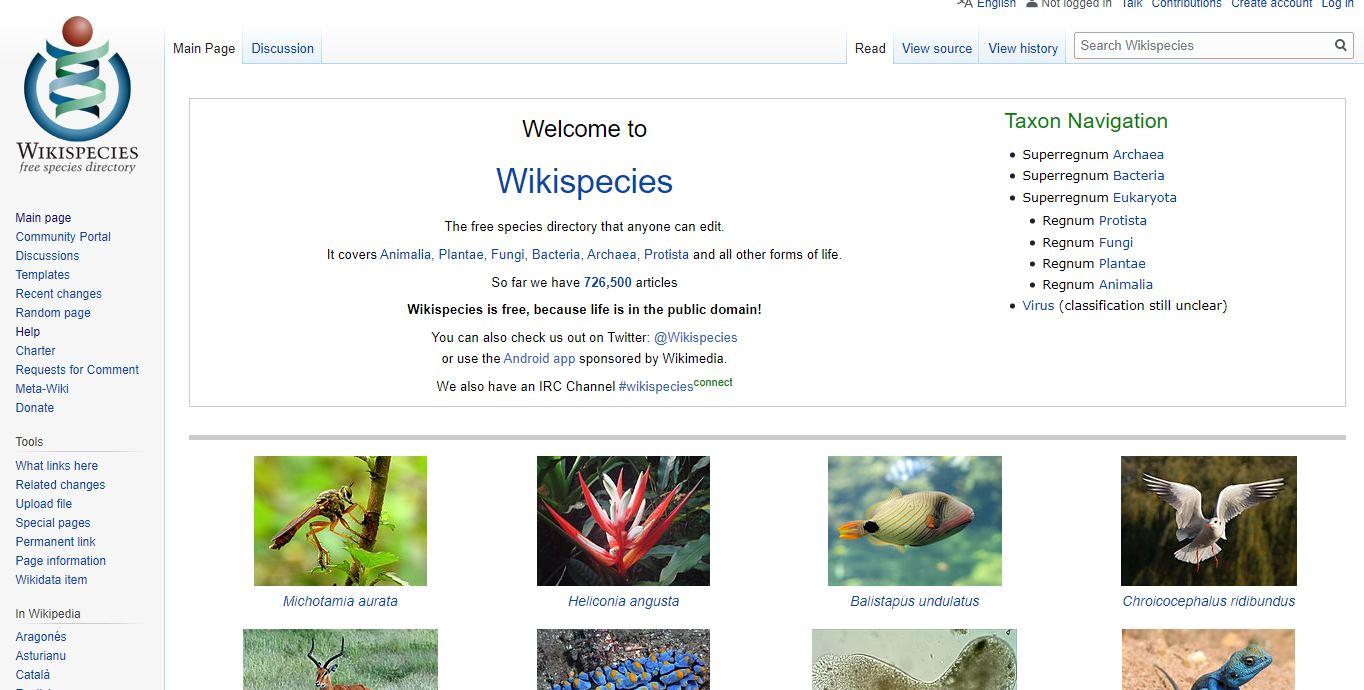 Wikispecies, la web de especies del planeta Tierra