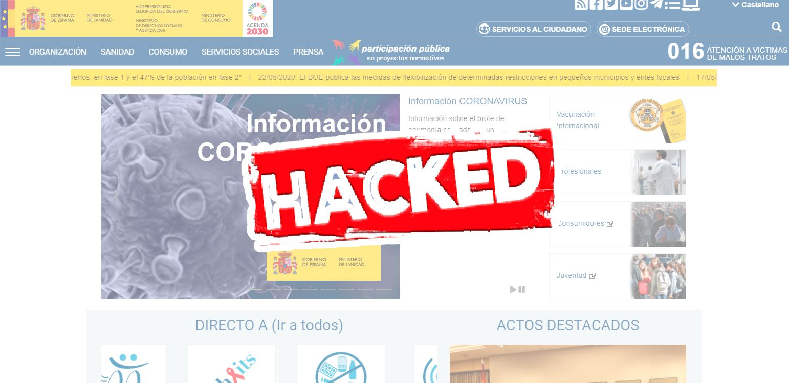 Sobre el hackeo a la página web del Ministerio de Sanidad español