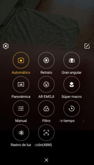 Interfaz de la cámara Alcatel 3L