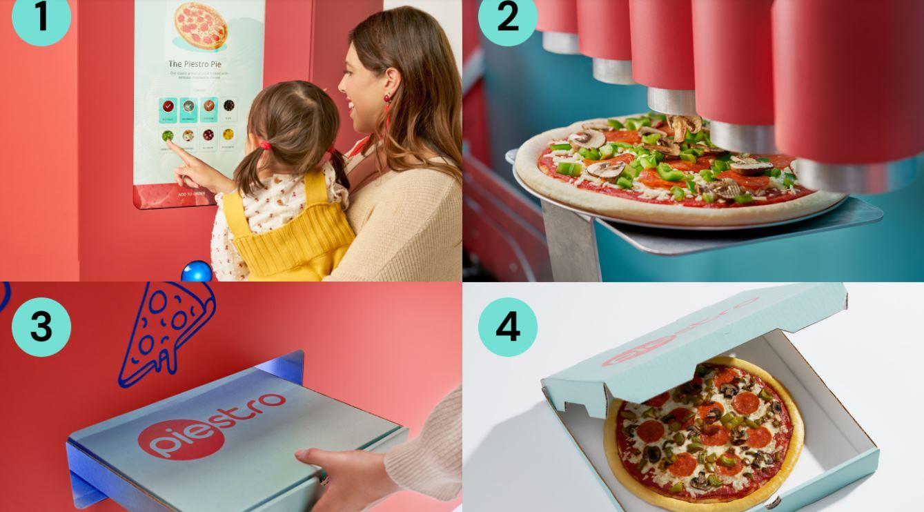 Una máquina que fabrica y vende pizza sin contacto con humanos