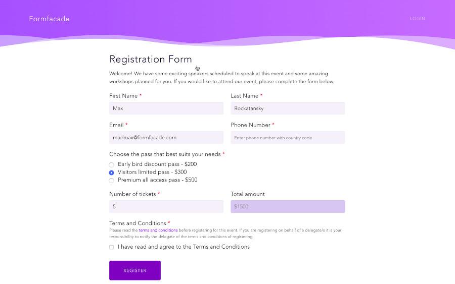 Formulario personalizado con Formfacade