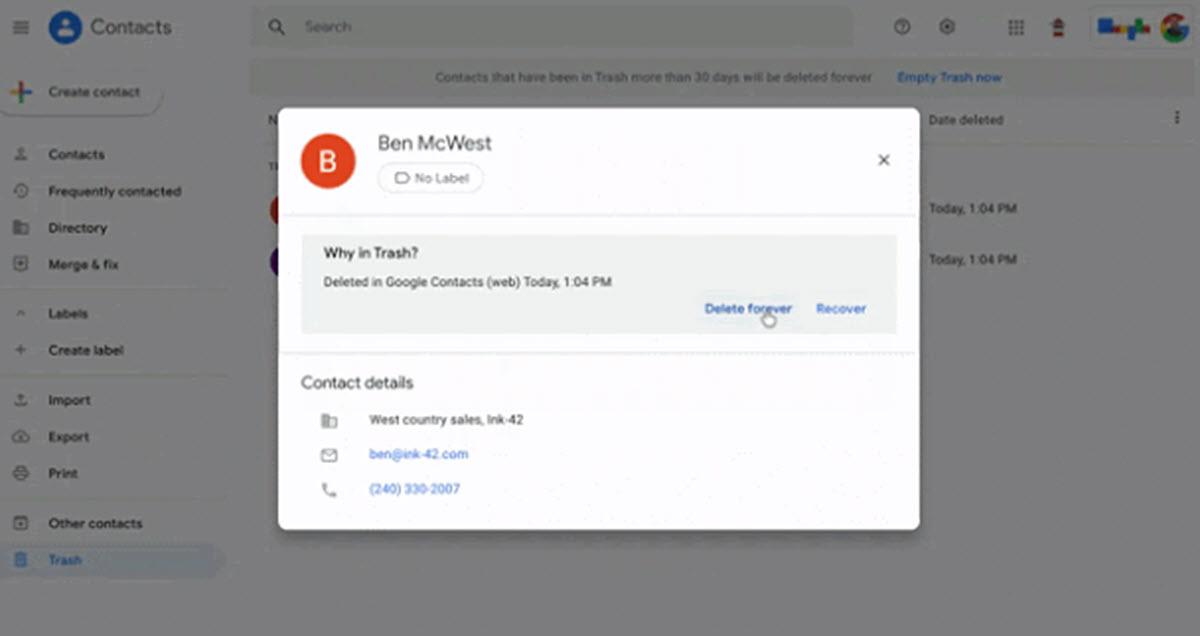 Contactos de Google añade una opción para no perder datos por accidente