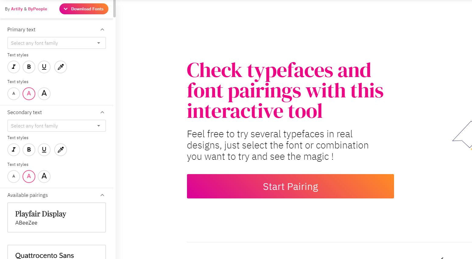 fontpairings, para encontrar tipografía que pega con otra