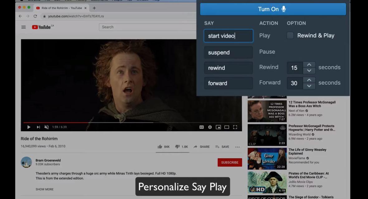 Una extensión Chrome para controlar los vídeos con la voz