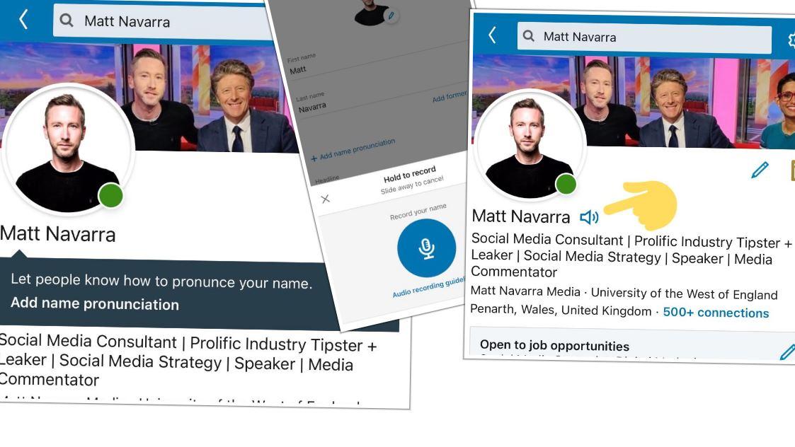 Linkedin nos permite añadir un audio para mostrar cómo se pronuncia nuestro nombre