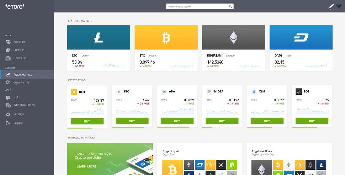 eToro para vender criptomonedas