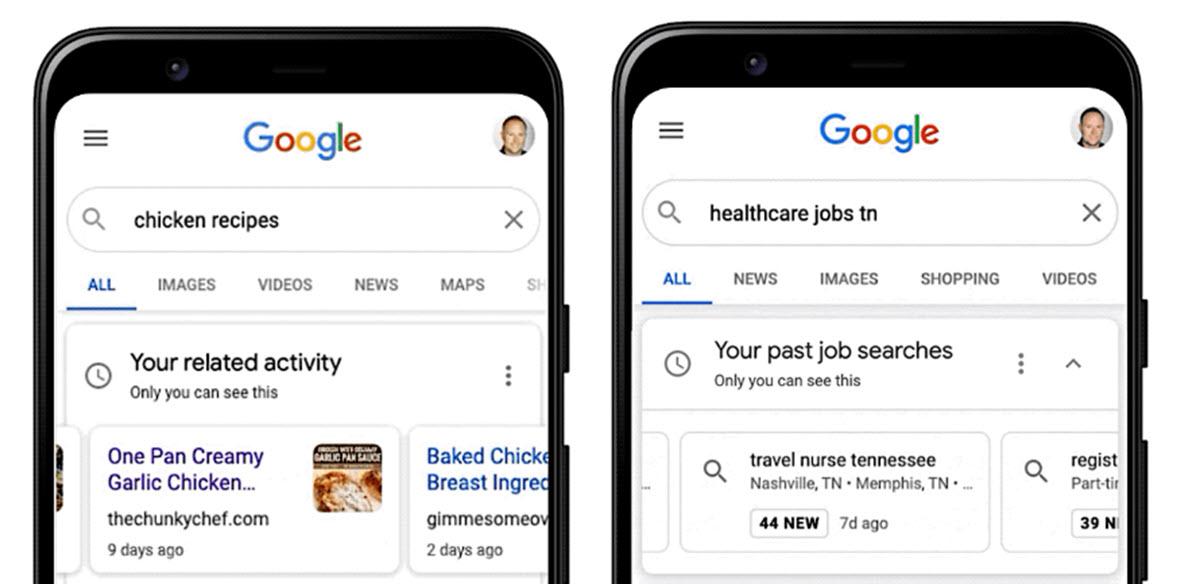 Google ahora facilita retomar las búsquedas de trabajo, compras y recetas
