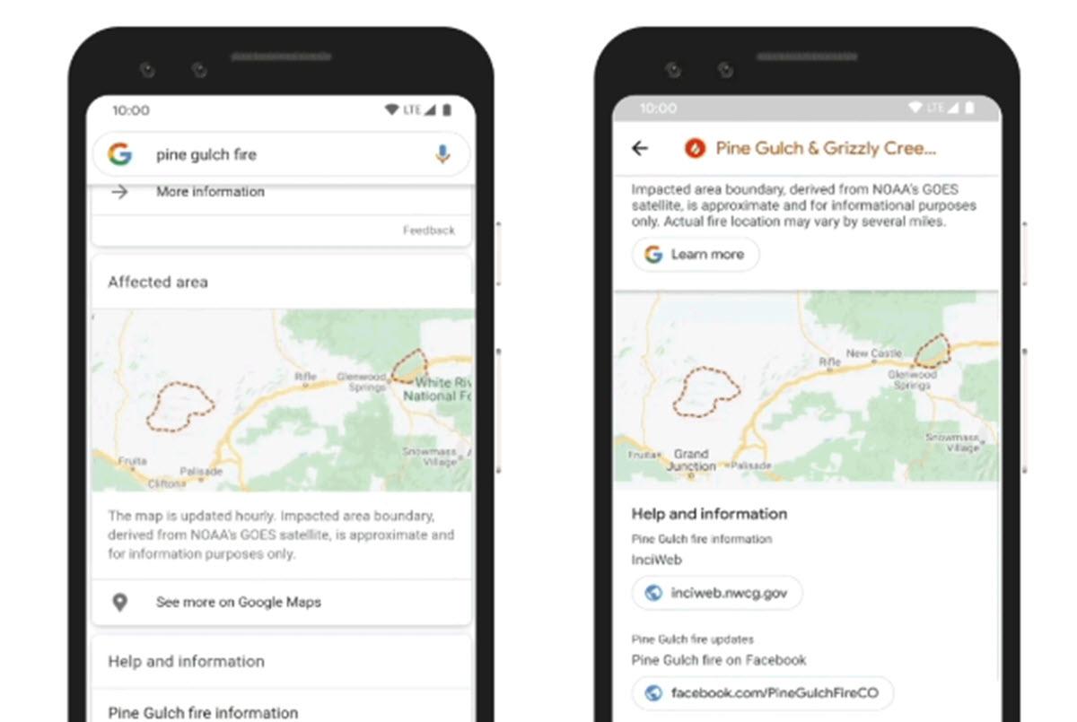Google utiliza imágenes satelitales para dar información sobre incendios forestales