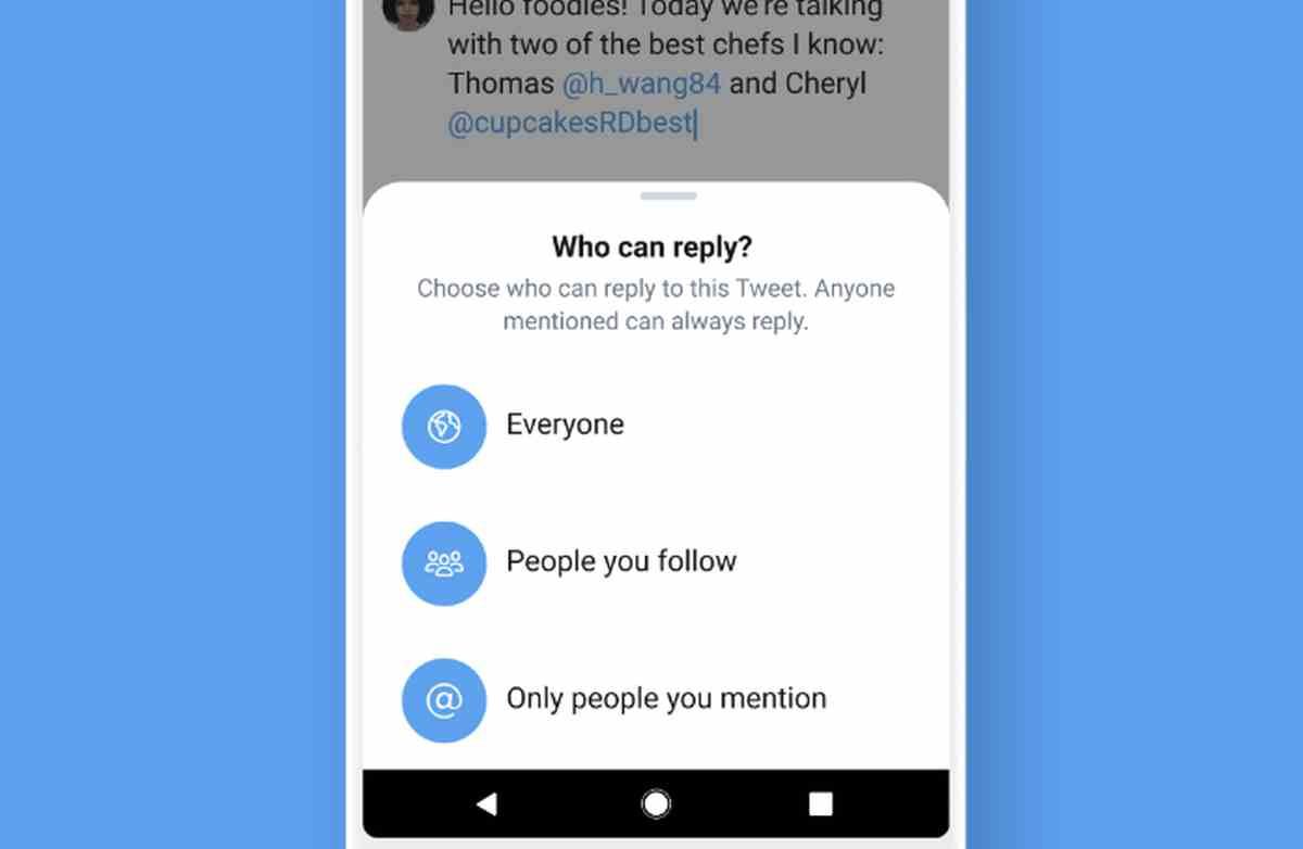 Twitter expande la función de limitación de respuestas a todos los usuarios de iOS
