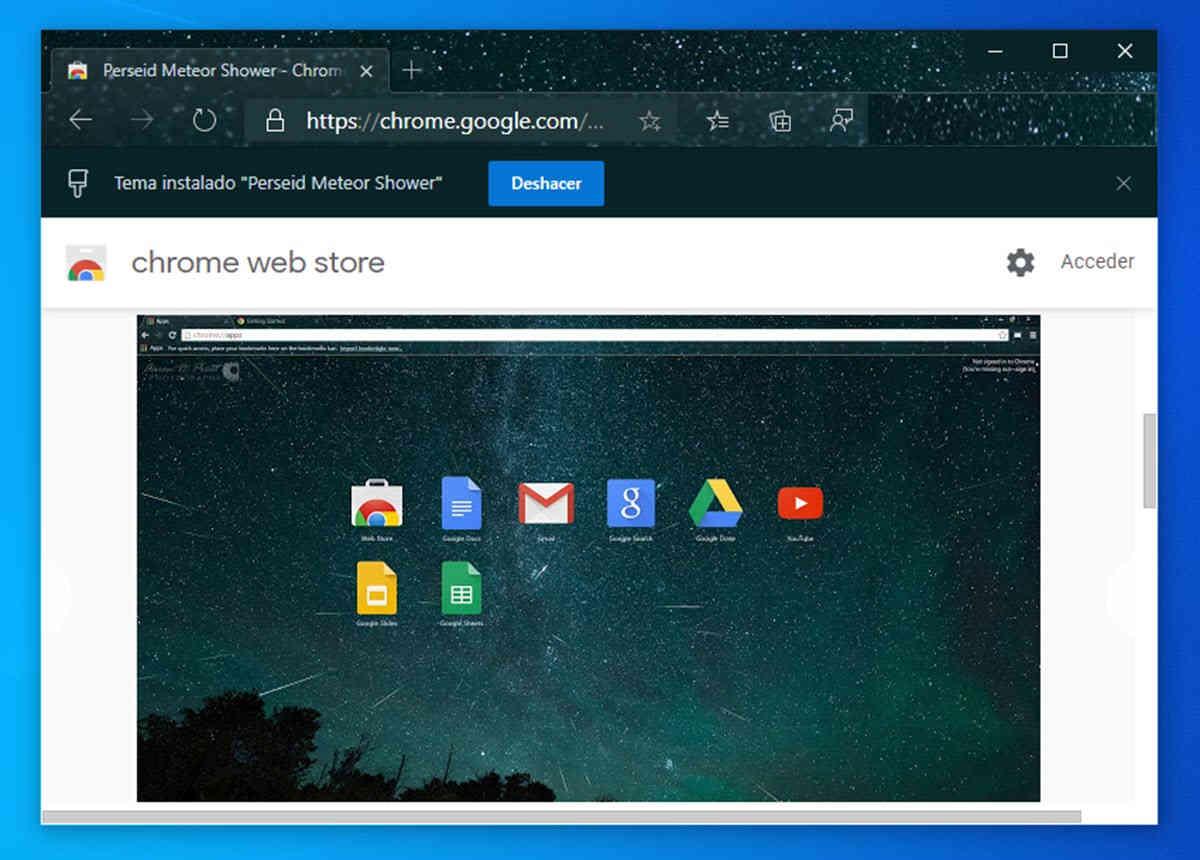 El navegador web de Microsoft permitirá instalar temas desde la tienda de Chrome